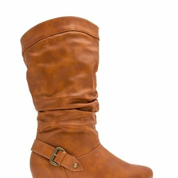 Slouchy Buckle Back Boots