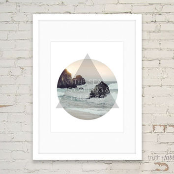 The Sea is Calling & I Must Go Travel Quote Art Printable DIY Art Print Download