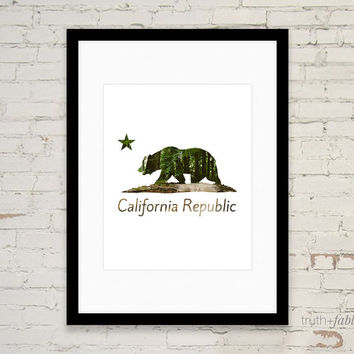 California Republic Bear Forest DIY Art Print