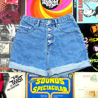 Vintage High Waist Denim Cut Offs, 90s Cut Off Jean Shorts, High Waisted/Frayed/Rolled Up/Cuffed Stone Washed BUTTON FLY Shorts Size 8 M