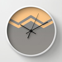 Peach and Grey Chevron Wall Clock by Kat Mun