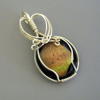 Silver Wire Wrapped Dichroic Glass Pendant with GoldGreen Cabochon | Umeboshi - Jewelry on ArtFire