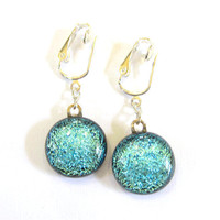 Blue Dichroic Clip On Earrings Let&#x27;s Dance 1159 by mysassyglass