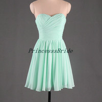 2014 short mint sweetheart prom dresse,cheap homecoming dress on sale,latest wedding party gown hot,simple bridesmaid dress.