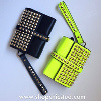 Gold Studded Clutch Bag - Black or Neon Yellow - Faux Leather - Jumbo Clutch - Gold Chain