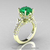 Classic French 14K Green Gold 3.0 Ct Emerald Diamond Solitaire Wedding Ring R401-14KGRGDEM