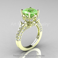 Classic French 14K Green Gold 3.0 Ct Green Topaz Diamond Solitaire Wedding Ring R401-14KGRGDGT