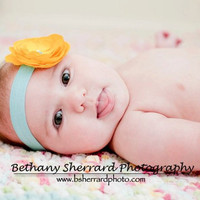 Golden Yellow Baby Flower Headband, Headbands, Small Rosette In Tiffany Blue Headband | Luulla