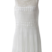 Song of Canary Pleated Dress with Crochet Hamline in White