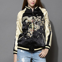 Oriental Embroidered Two Tone Bomber Jacket