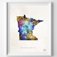 Minnesota Map, Poster, Painting, Watercolor, Saint Paul, Home Town, Wall Art, USA, States, America, Wall Decor, Gift [NO 355]