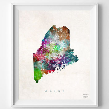 Maine Map, Augusta Poster, Painting, Watercolor, House, Room, Nursery, Home Town, Wall Art, USA, States, America, Wall Decor, Gift [NO 356]