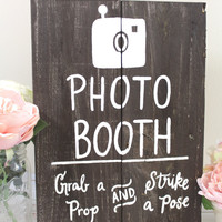 Wooden Photo Booth Sign - Rustic Wedding Photo Prop Sign - Free Standing Sign - (WD-48)