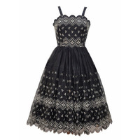 Beautiful black organza 1950s party dress - Love Miss Daisy