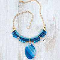 SUMMER SALE JeansLover Statement Blue Agate Stone Necklace by Pardes