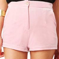 Gale Velvet High Waisted Shorts in Pink