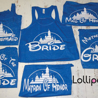 Bridel set of  Tanks. wedding Gift . Bridesmaid tank. Bachelorette party. Disney. Maid of Honor. Mother of the Bride. Mother of the Groom.