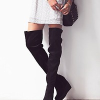 Jeffrey Campbell + Free People Womens Mind and Matter Over the Knee Boot - Black