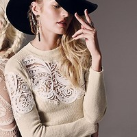 Free People Womens Scroll Work Pullover - Ivory,