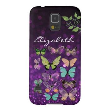 Butterfly Kisses on Purple Glitter Galaxy S5 Cases