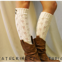 Open crochet knit leg warmers / womens by CatherineColeStudio