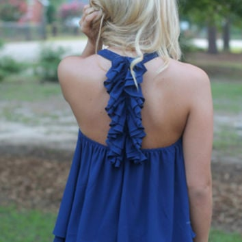 Ruffled Around the Edges Tank | ruffle back tank top