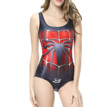 Lady Sexy One Piece Swimsuit Beach Wear Red Spider-man Digital Printing Swimwear Bikini:Amazon:Sports & Outdoors