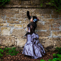 Steampunk Bustle Wedding Dress Purple Silk Black by KMKDesignsllc