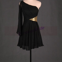 2014 short black chiffon prom gowns,unique one sleeve dress for party,cheap simple homecoming dresses hot.