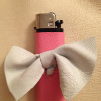 Pink Leather Wrapped Lighter with White Bow by SugarMagnoliaSouth