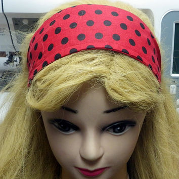 Red Polka Dot Headband, Black and Red Headband, Pinup Girl hair accessory, Retro Head Piece