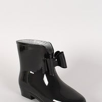 STW-012 Jelly Bow Almond Toe Rain Bootie
