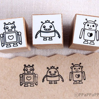 Robot Small Rubber Stamp set