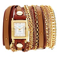 Duo Chain & Stud Brown Watch