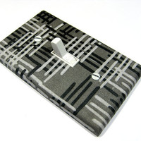 Gray and Black Hash Marks Light Switch Cover by ModernSwitch