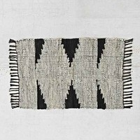Magical Thinking Woven Leather Rug- Black & White 2X3