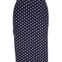 Polka Dot Pencil Skirt in Navy