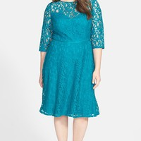 Adrianna Papell Cutout Back Lace Fit & Flare Dress (Plus Size)