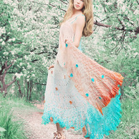 Dress crochet knitted boho gypsy wedding hand by RuchkiKruchkI