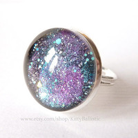 Galaxy Ring Silver Adjustable Ring Starry Cosmic by KittyBallistic