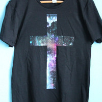 galaxy  cross   t  shirt by EkaterinaWolf on Etsy