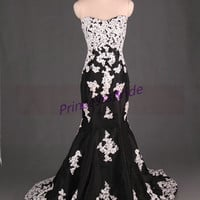 2014 black taffeta wedding dresses with ivory applique lace,long mermaid evening dress hot,cheap sweetheart gowns for party on sale