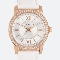 Ted Baker Rhinestone Surround Leather Strap Watch