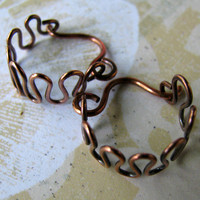ZIGZAGS Solid Copper Wire Earrings Handworked Loops | Luulla