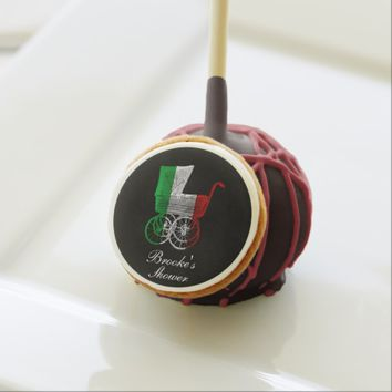 Italian Flag Baby Carriage Personalized Cake Pop