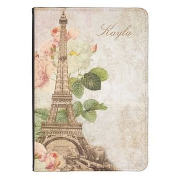 Paris Pink Rose Damask Vintage Personalized Kindle