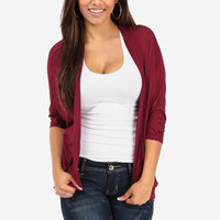 Cheap Trendy Burgundy Open Cardigan in TOPS