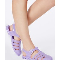 Missguided - Paquita Cut Out Jelly Sandals In Lilac