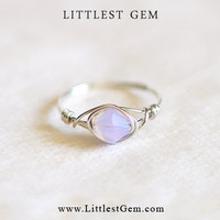 Swarovski Elements Purple Opal ring - wire wrapped jewelry handmade - wire wrap ring - unique rings - custom