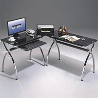 Costco - Black Glass Workstation with Chrome Finish Frame